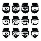 Mens in hoed met baard en glazen geplaatste pictogrammen Stock Afbeelding