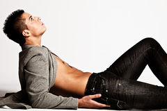 Mens in jeans Royalty-vrije Stock Fotografie