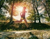 Mens jogger in park zonnige dag die in werking wordt gesteld De mens leidt op royalty-vrije stock afbeelding
