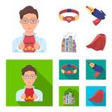Mens, jongelui, glazen, en ander Webpictogram in beeldverhaal, vlakke stijl Superman, riem, kanonpictogrammen in vastgestelde inz vector illustratie