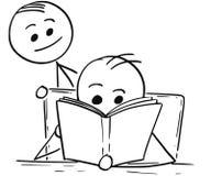 Mens of Jongen die een Boek lezen en Een andere Mens achter hem vector illustratie