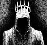 Mens in kap zonder gezicht met kroon royalty-vrije illustratie
