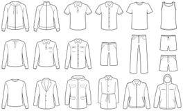 Menâs kleedt vectorillustraties Stock Afbeeldingen