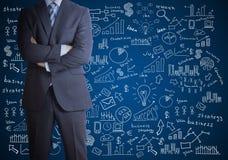 Mens in kostuum en businessplan Stock Afbeeldingen