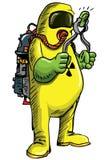 Mens in kostuum HAZMAT die radioactief iets handeling royalty-vrije illustratie