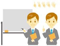 Mens in kostuum, presentatie, begeleiding stock illustratie