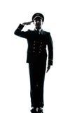 Mens in luchtvaartlijn het proef eenvormige silhouet groeten Royalty-vrije Stock Foto's