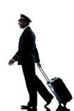 Mens in luchtvaartlijn het proef eenvormige silhouet lopen stock afbeeldingen