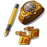 Mens luxury accessories - gold watch, pen and cufflinks with initials. Three items isolated. Vector in cartoon style. Mens luxury accessories - gold watch, pen Stock Photography