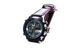 Mens luxury round swiss mechanical wrist watch with leather wris Stock Photo
