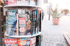 Mens magazines in germany Royalty Free Stock Photos