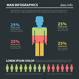 Mens mannelijke marketing gegevens sociale vector vlakke infographics Stock Fotografie
