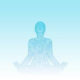 Mens in meditatie - het silhouet van het krabbel zentangle ornament stock illustratie