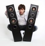 Mens met audiosysteem. Stock Afbeelding