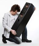 Mens met audiosysteem. Royalty-vrije Stock Fotografie