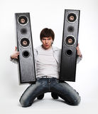 Mens met audiosysteem. Stock Foto