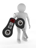 Mens met automobiele sleutels Geïsoleerdea 3D royalty-vrije illustratie