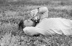 Mens met baard op de kalme paardebloem van gezichtssnuifjes Vrede en kalmteconcept Kerel met boeket van madeliefjes in baard stock fotografie