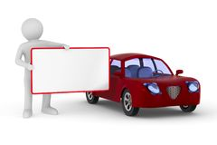 Mens met banner en rode auto op witte achtergrond Geïsoleerde 3D ziek Stock Foto's