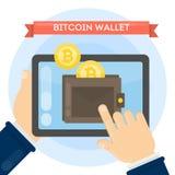 Mens met bitcoinportefeuille royalty-vrije illustratie
