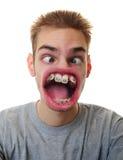 Mens met bizarre mond Stock Afbeeldingen