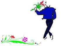 Mens met bloemenontwerp stock foto's