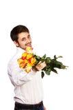Mens met boeket van rode rozen. royalty-vrije stock fotografie