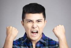 mens met boos en gek gezicht royalty-vrije stock afbeeldingen
