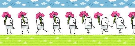 Mens met bos van bloemen vector illustratie