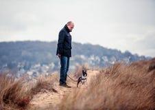 Mens met Boston Terrier stock afbeelding