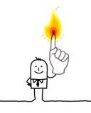 Mens met brandende vingers één Royalty-vrije Stock Afbeeldingen
