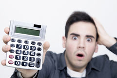 Mens met calculator Royalty-vrije Stock Afbeelding