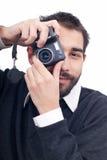 Mens met camera royalty-vrije stock afbeelding