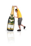 Mens met Champagne botlle Stock Afbeeldingen