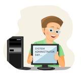 Mens met computer Stock Afbeelding