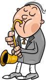 Mens met de illustratie van het saxofoonbeeldverhaal Stock Afbeeldingen