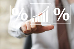 Mens met de percenten het pictogram van het van het bedrijfs grafiekweb diagramteken Royalty-vrije Stock Afbeelding