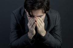 Mens met depressie Stock Foto
