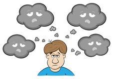 Mens met depressieve gedachten royalty-vrije illustratie