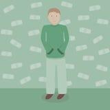 Mens met dollarsgeld stock illustratie
