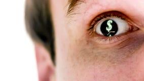 Mens met dollarsymbool in zijn oog in langzame motie stock video