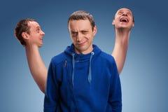 Mens met drie hoofden Stock Fotografie
