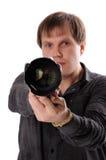 Mens met een camera Royalty-vrije Stock Foto's