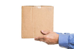 Mens met een doos Stock Foto