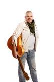 Mens met een gitaar Stock Afbeelding