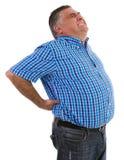 Mens met een grote rugpijn Stock Foto's