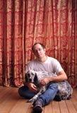 Mens met een hond Royalty-vrije Stock Afbeelding