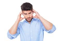 Mens met een hoofdpijn Royalty-vrije Stock Foto
