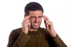 Mens met een hoofdpijn ongerust die wordt gemaakt die Royalty-vrije Stock Fotografie