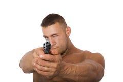 Mens met een kanon, op een witte achtergrond wordt geïsoleerd die Stock Afbeelding
